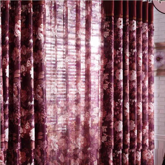 Romantic Floral Printed Purple Curtains with Blending Materials ...