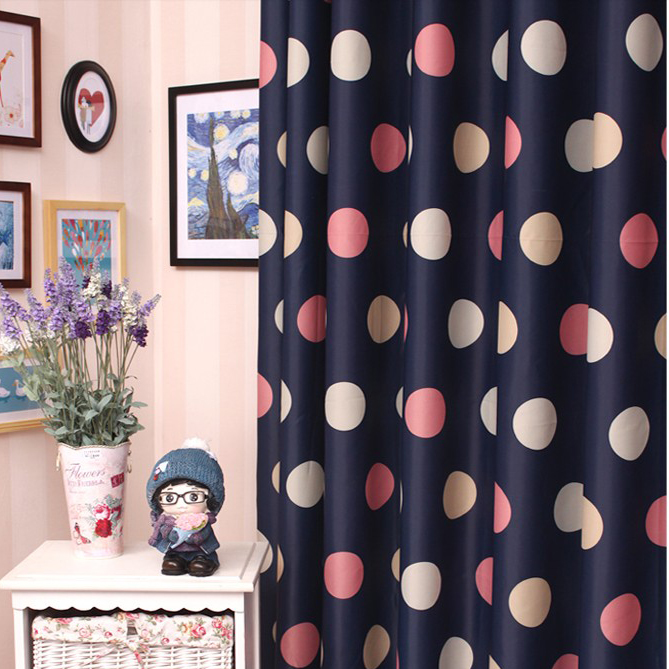 Romantic Navy Blue Yarn and Poly Blackout Curtains for Kids