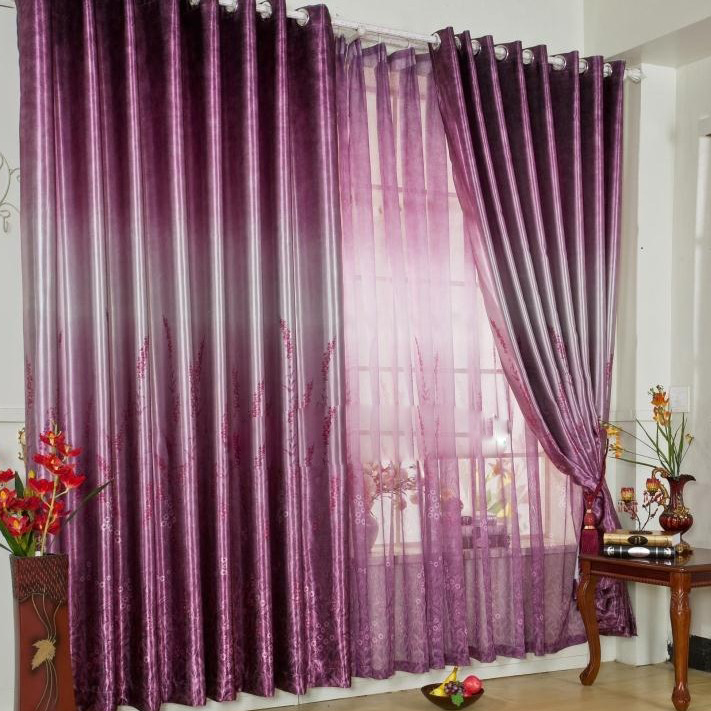 loading zoom romantic purple poly and cotton blackout curtains