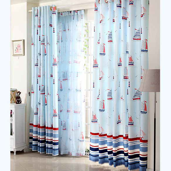 Treatments > Curtains > Country curtains > Sail Boat Jacquard Blue Boy ...