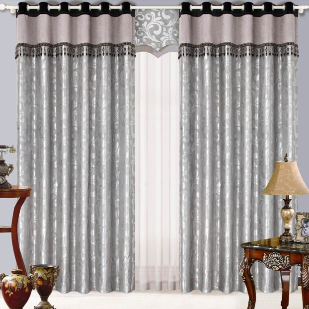 Silver Blackout Living Room Curtains of Floral Patterns Buy