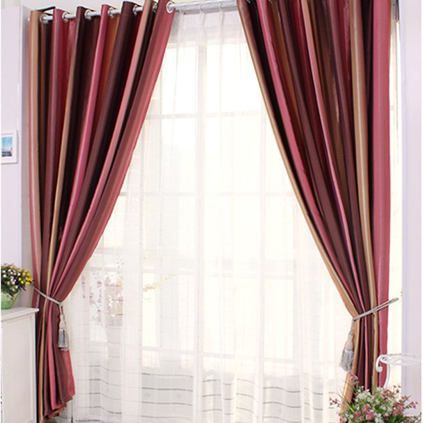 Loading Zoom. Simple Burgundy Polyester Blackout And Lined Curtains ...