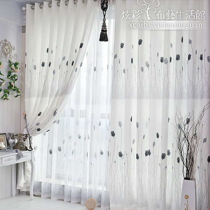 Simple But Elegant Lilac Yarn Dining Room Curtains Buy Black