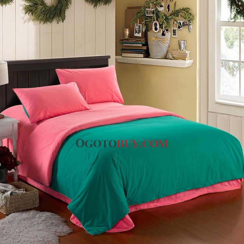 simple pink and green matrimoniale / full / queen / king-size ... - Copripiumino King Side Queen Side