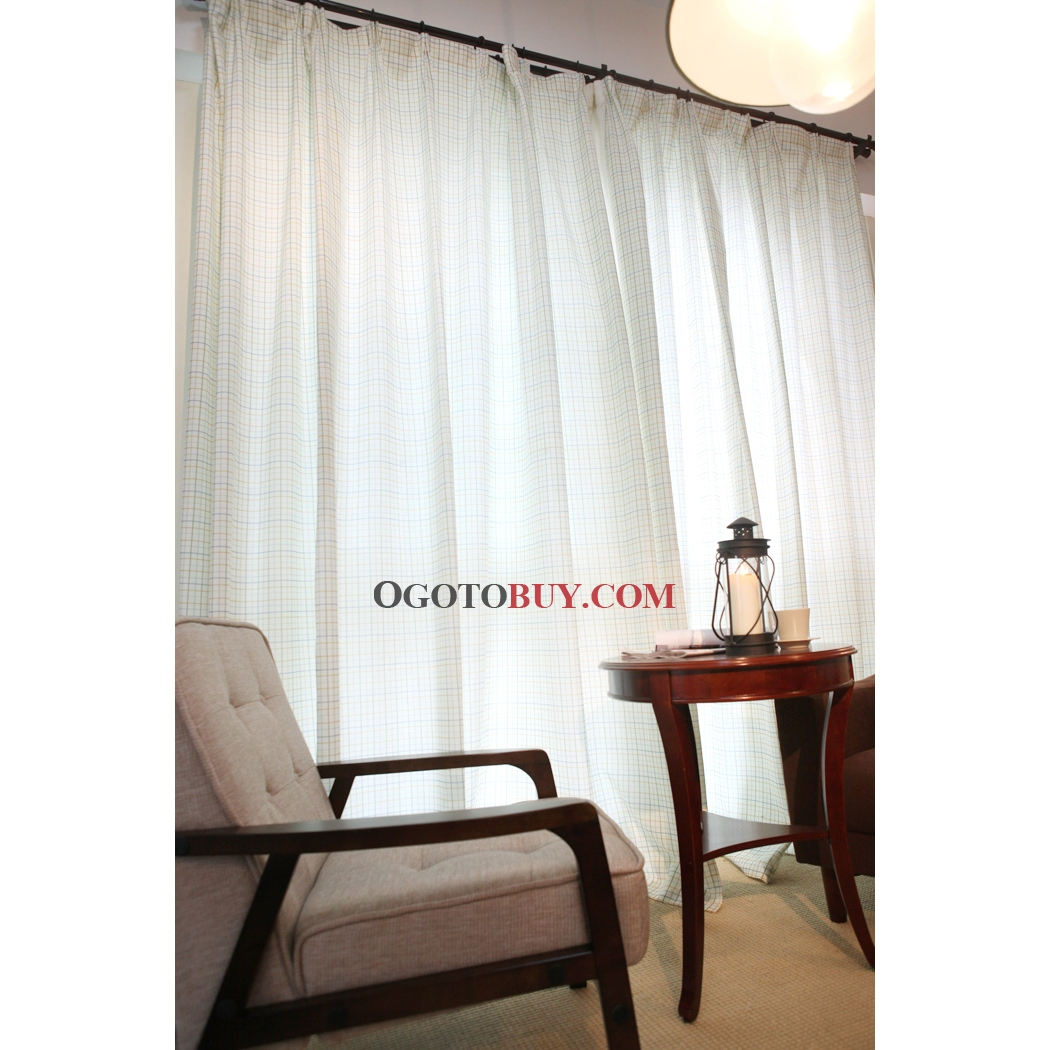 ... Sheer Lineate White Cotton Curtains. Loading Zoom