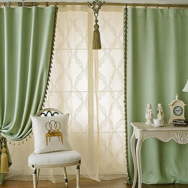 Solid Green Color Elegant Blackout LivingRoom Curtains Buy