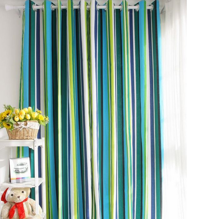 Loading Zoom. Special Design Striped Blue Cotton Ordinary Shading Curtains  ...