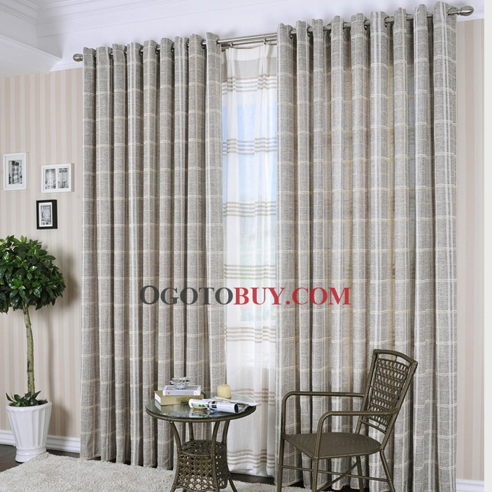 loading zoom special price country grey plaid cotton ecofriendly curtains