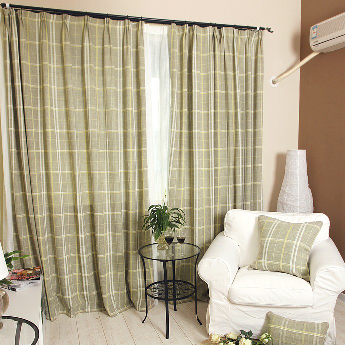 Spring Feeling Green Plaid or Check Linen and Cotton Curtains ...
