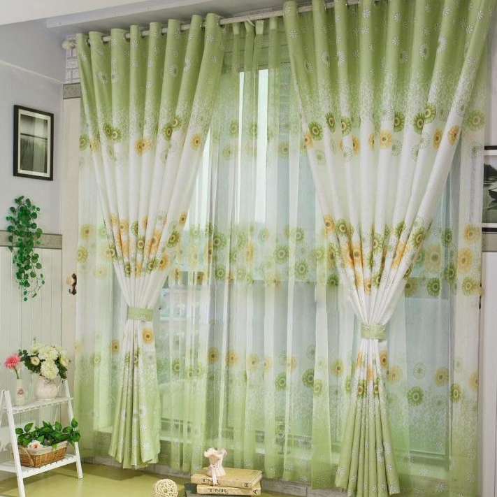 elite spring floral printing poly and linen green curtains