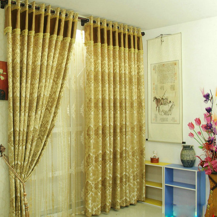 ... Gold Blackout Jacquard Artificial Fiber Bedroom Curtains. Loading Zoom