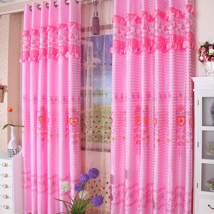 Stunning Pink Lace Embossed Bedroom Curtains For Marriage Buy Curtains For Pink Bedroom