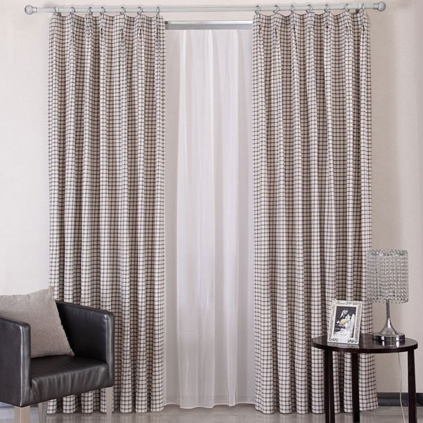 Stylish Plaid Cotton Living Room Energy Saving Curtains Loading Zoom
