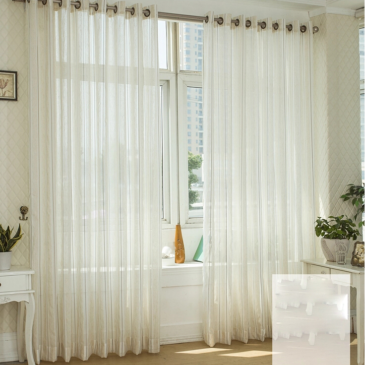 Stylish Striped Linen Custom Made Sheer Curtains , Buy Multi-color ...