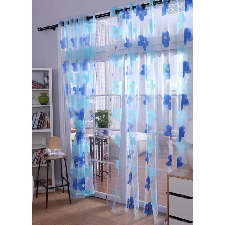 ... Blue Floral Design Sheer Curtains For Home. Loading Zoom
