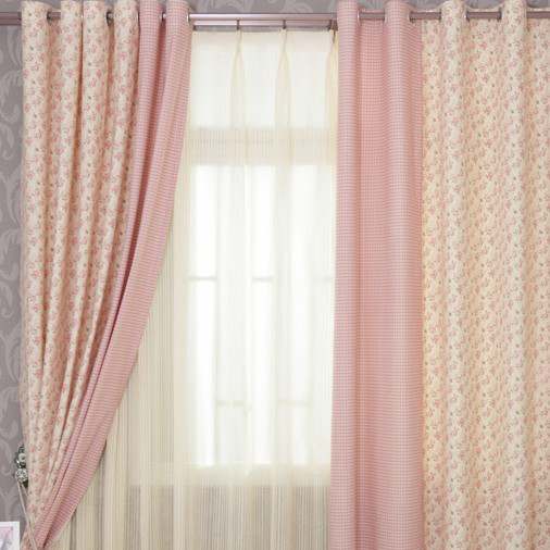 sweet pink floral and plaid cotton bedroom curtains for girls, Bedroom decor