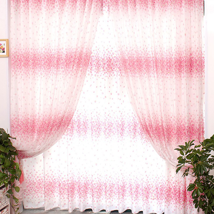 Sweet Pink and White Floral Printing Curtains of Eco-friendly ...