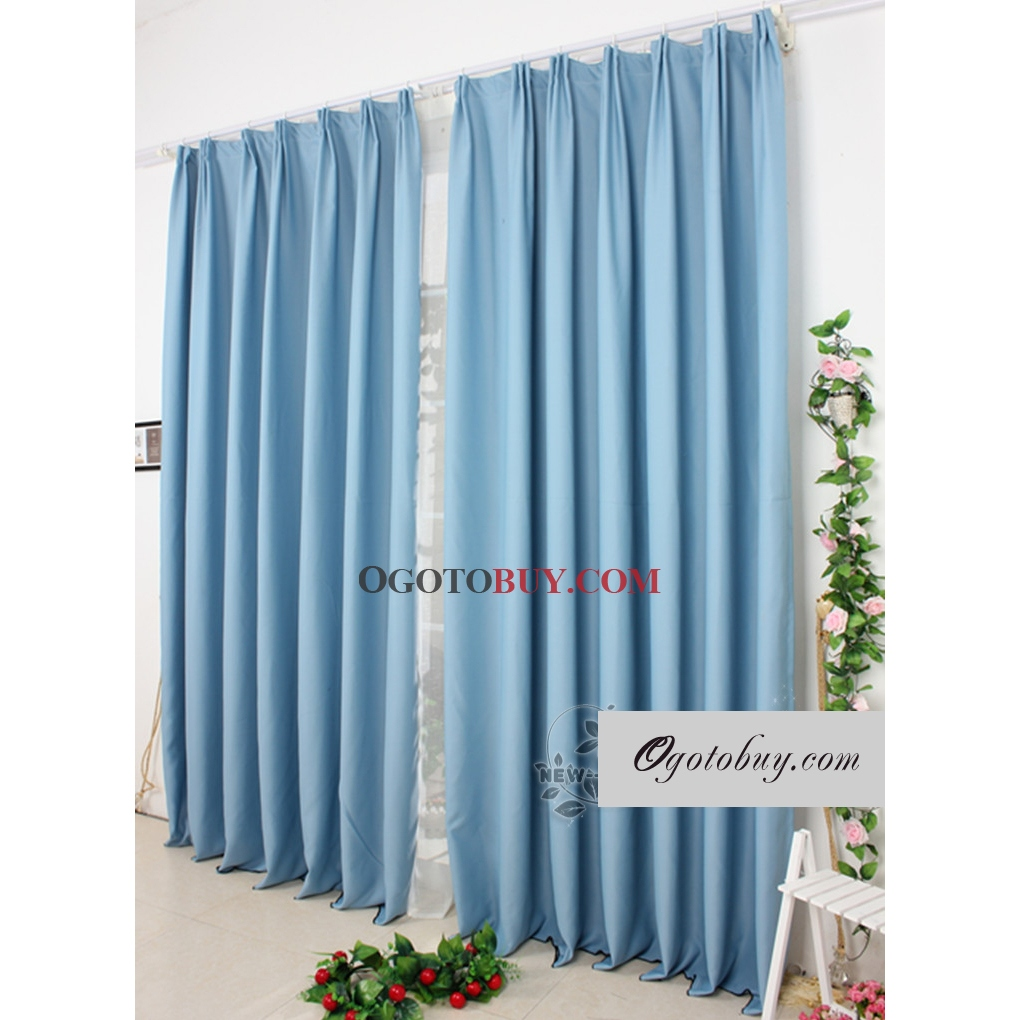 Perfect Thermal Solid Curtains With Blue Polyester/Cotton Blend Material