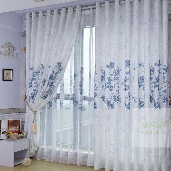 white cotton and poly blended printed curtains loading zoom