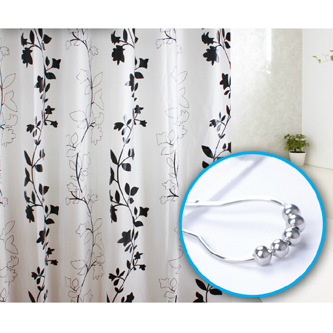 White Panel with Black Leaf Shower Curtain, Buy White waterproof ...