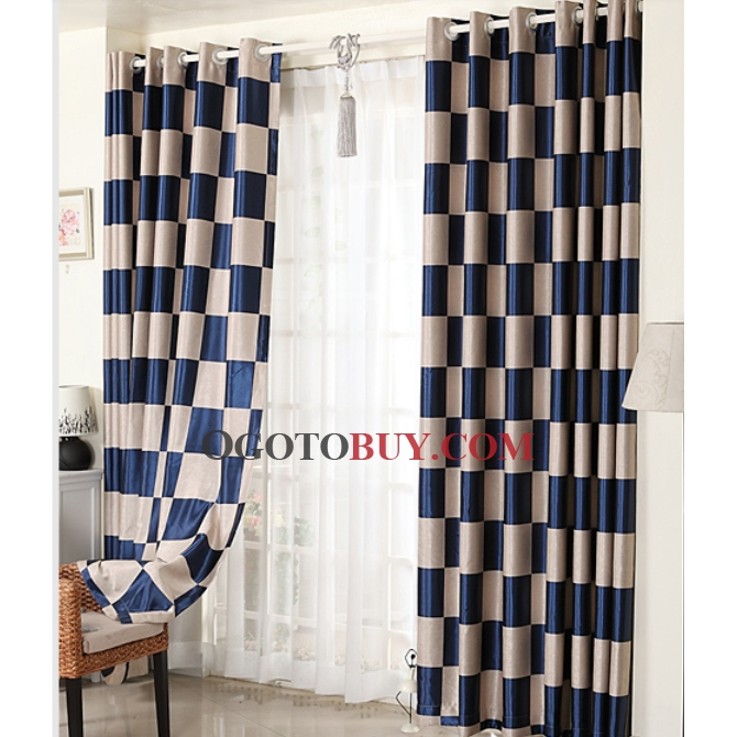 Navy Blue and White Curtains