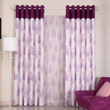 2013 Hot Floral Printing Lilac Bedroom Curtains Made of Polyester (Two Panels)