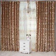 2013 Hot Sale Flocking Printing Curtains in Champagne with Lines