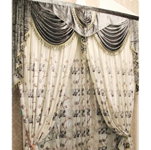 2013 New Style Flocking Yarn and Polyester Floral Blackout Curtains