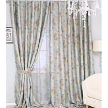 Affordable Discount Gold Luxury Floral Teal Blue Curtains