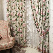 Amazing Pink Flower Heavy Hot Sale Curtains (Two Panels)
