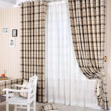 American Country Plaid and Check Artificial Fiber Curtains