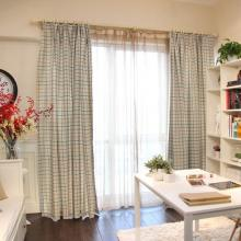American Simple Style Plaid Curtains of Poly and Cotton