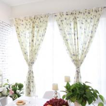 Beautiful Blue Floral and Leaf Printed Curtains Made of Polyester