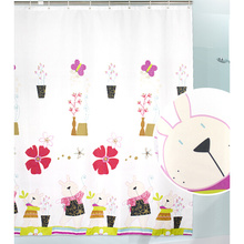 Beautiful Cartoon Polyester Custom Made Kids Shower Curtain