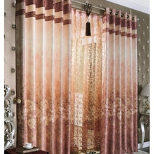 Beautiful Floral Jacquard Classic Energy Saving Curtains in Orange (Two Panels)