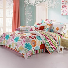 Beautiful Floral Printing Striped Cotton Bed-in-a-bag of 4-piece