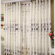 Beautiful Floral Style Polyester and Cotton White Curtains