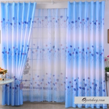 Beautiful Gradually Changed Blue Floral Printed Polyester Curtains (Two Panels)