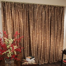 Beautiful Luxury Jacquard Brown Floral Polyester Curtains (Two Panels)