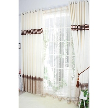Beautiful Striped Solid Ivory Energy Saving Curtains