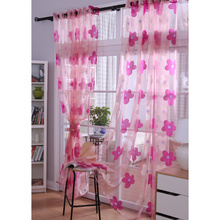 Big Flower Design Hot Pink Sheer Curtains