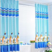Blue Flower and Animal Printed Half Blackout Curtains