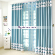 Blue Lace Country Stlye Heavy Blackout Curtains