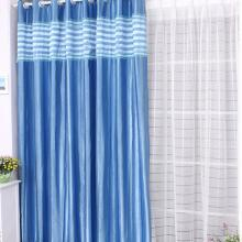 Blue Poly Curtains with Lines for Blackout and Thermal Functions