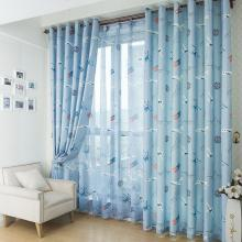 Boy Like Chirdren Room Curtains in Blue with Planes