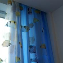 Boys Bedroom Fishes Printing Blue Blackout Curtains