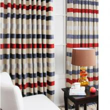 Boys Favorite Striped Printed Flocking Polyester and Cotton Curtains
