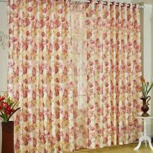 Bright Flower Printed Pastoral Curtains of Fibre in Multi-colors