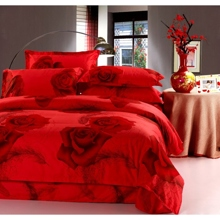 Bright Red Rose Cotton 4-piece Duvet Cover Set