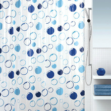Bubbles Pattern Waterproof Blue Shower Curtains